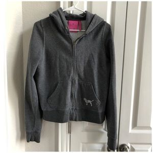 Victoria's Secret PINK Gray Hooded Zip Up Jacket M